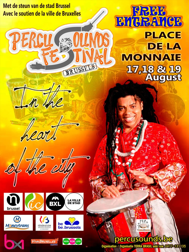Promotional flyer with man playing percussion instrument.